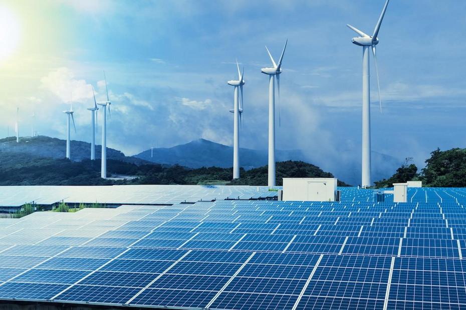 太陽光パネルと風車